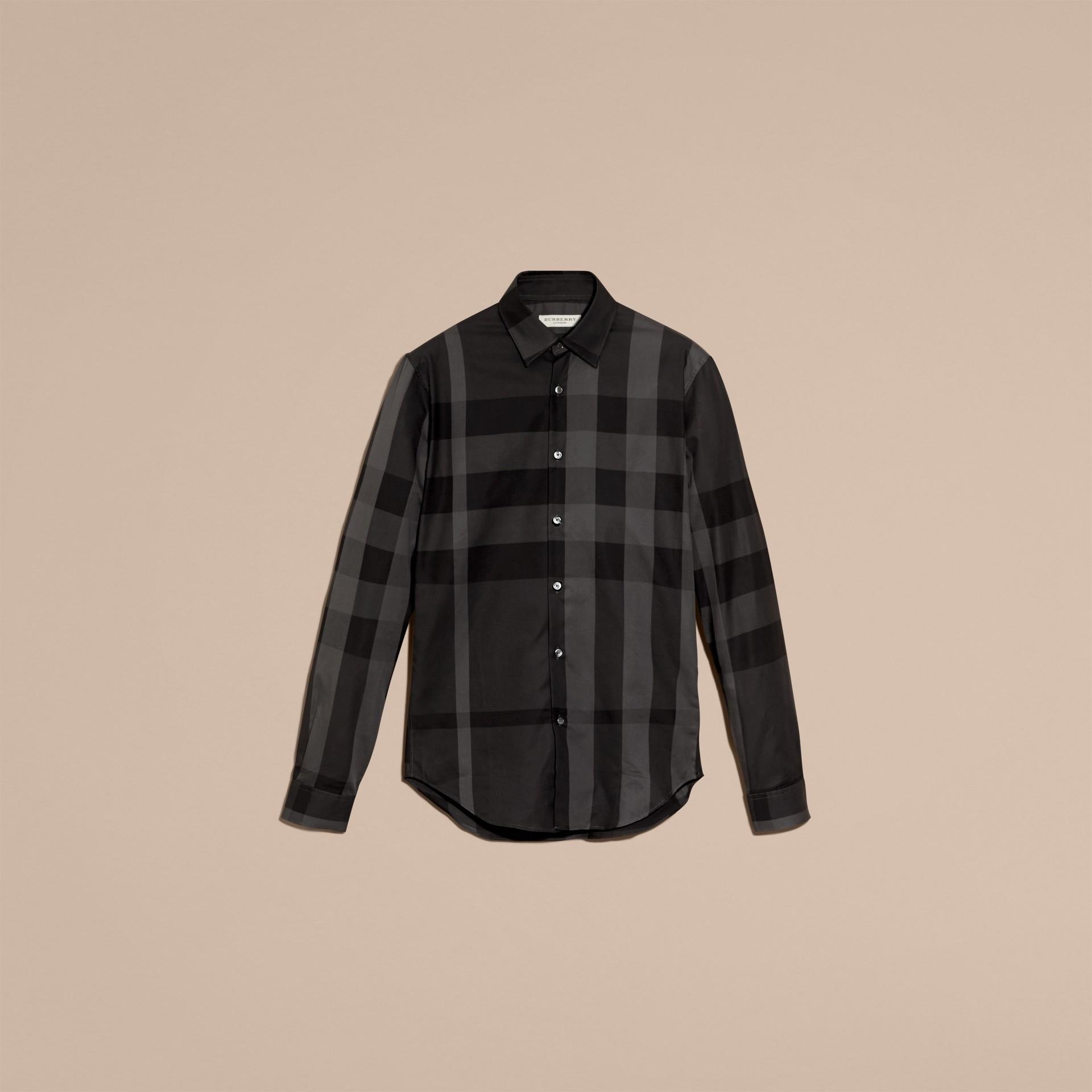 Gris marengo Camisa en algodón con estampado de checks Gris Marengo - imagen de la galería 4