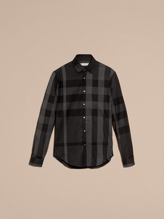 Charcoal Check Cotton Shirt Charcoal - cell image 3