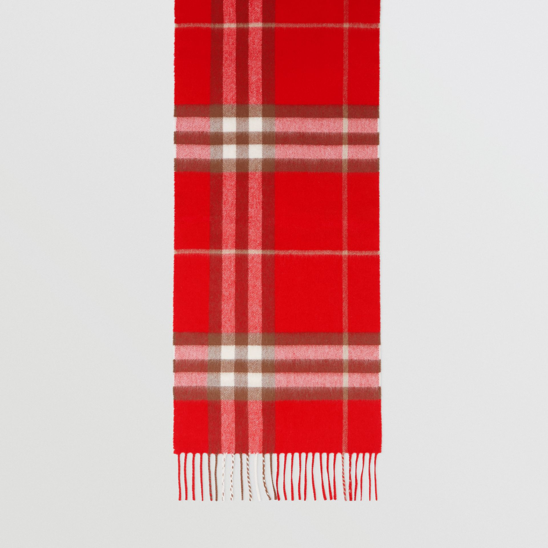 The Classic Check Cashmere Scarf in Red | Burberry - gallery image 2