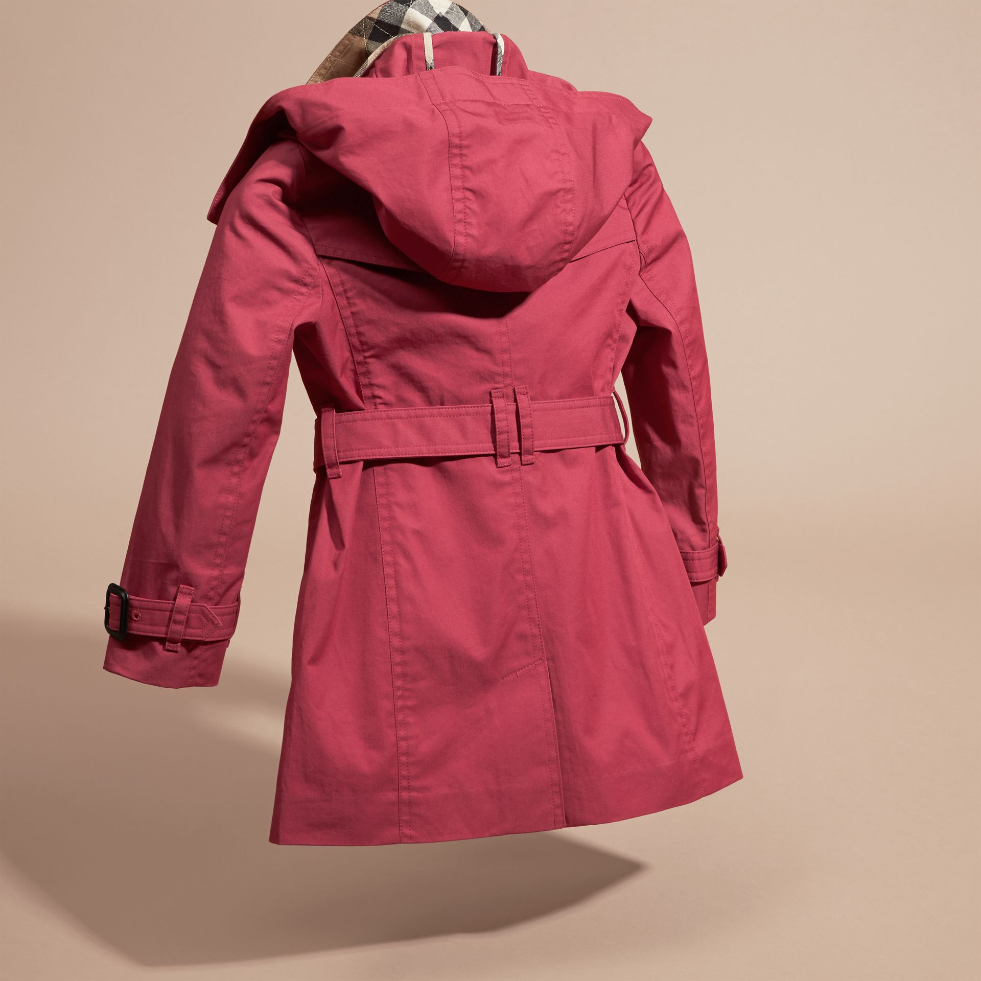 Peony rose Hooded Cotton Trench Coat - gallery image 4