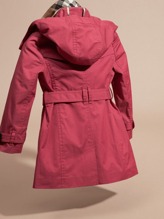 Peony rose Hooded Cotton Trench Coat - cell image 3