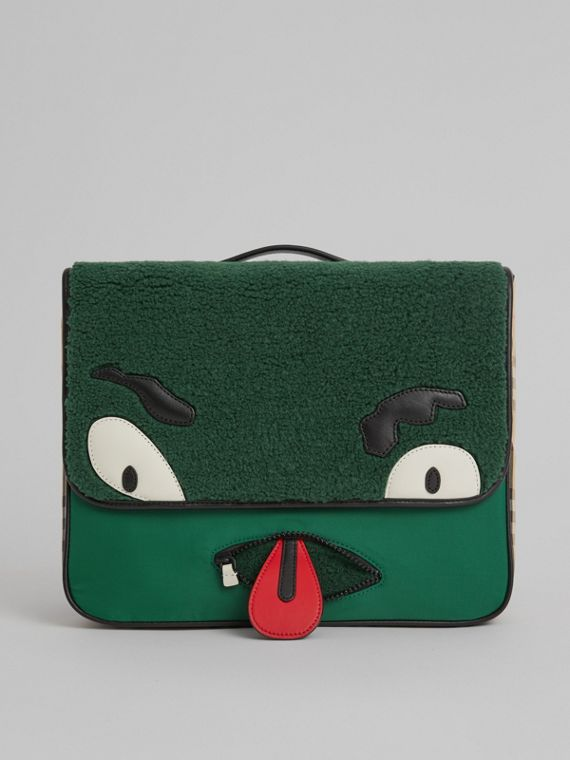 Monster Faux Shearling and Vintage Check Satchel in Pine Green