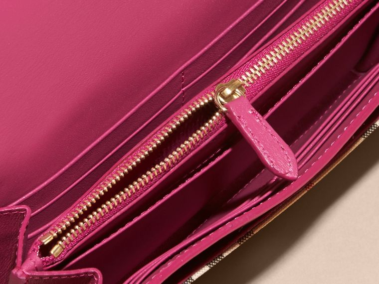 Brilliant fuchsia Horseferry Check and Leather Wallet with Chain Brilliant Fuchsia - cell image 4