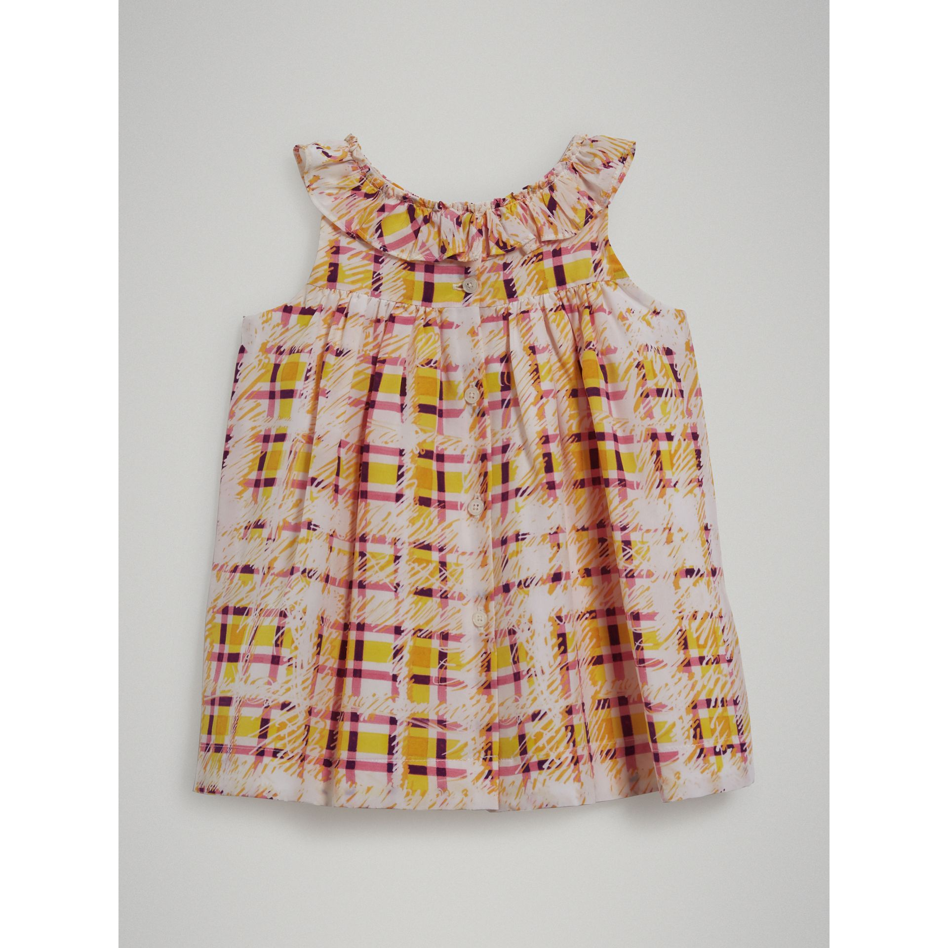 Gathered Scribble Check Print Silk Dress in Amber Yellow - Children | Burberry - gallery image 3