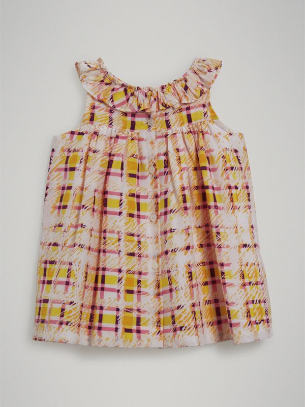 Gathered Scribble Check Print Silk Dress in Amber Yellow - Children | Burberry - cell image 3