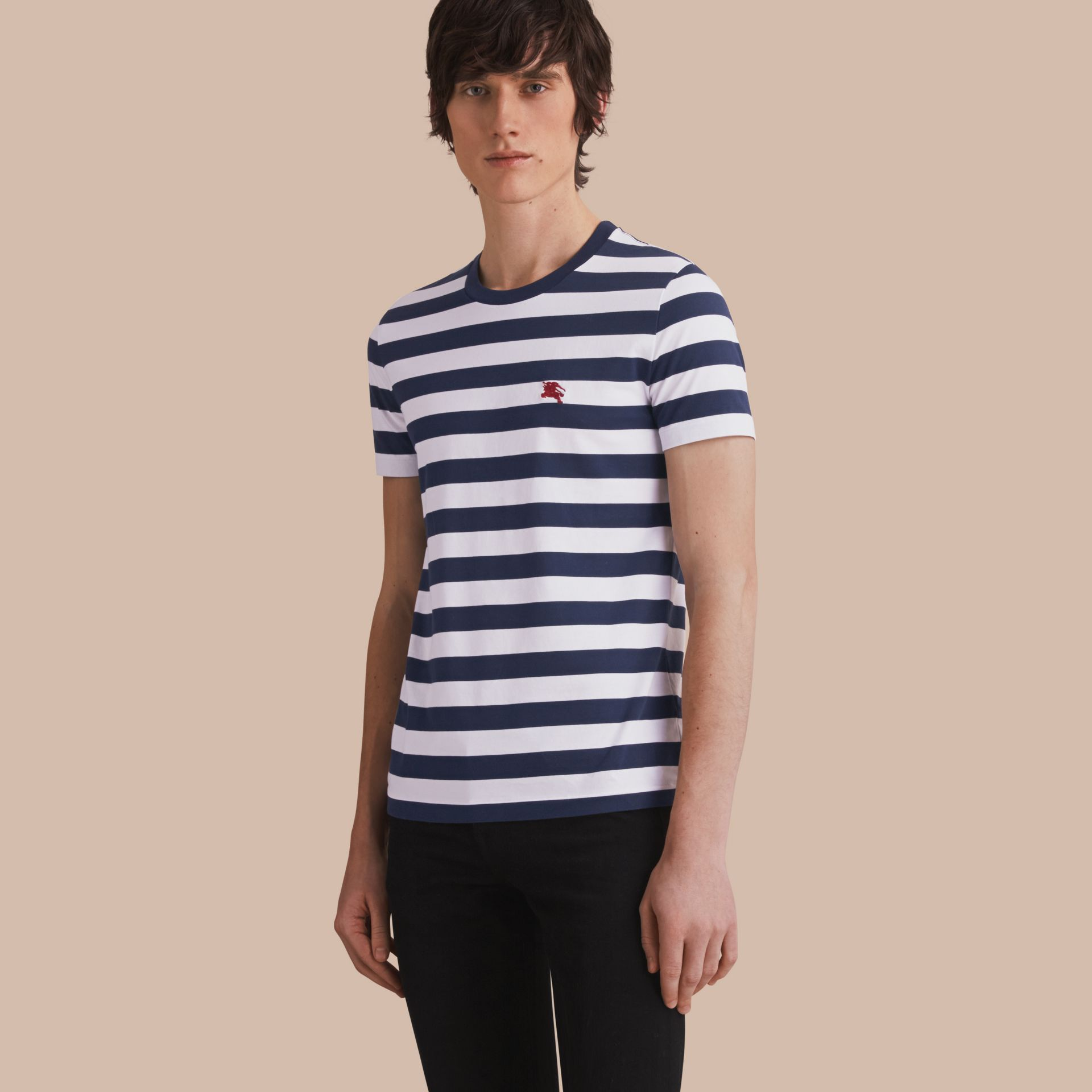 Striped Cotton T-Shirt in White/navy - Men | Burberry - gallery image 1