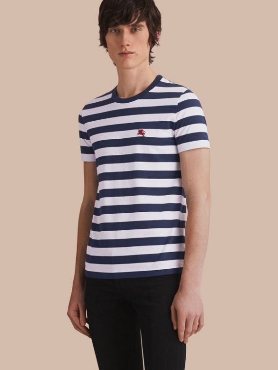 Striped Cotton T-Shirt in White/navy