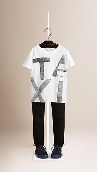 Camiseta de algodão com estampa de táxi
