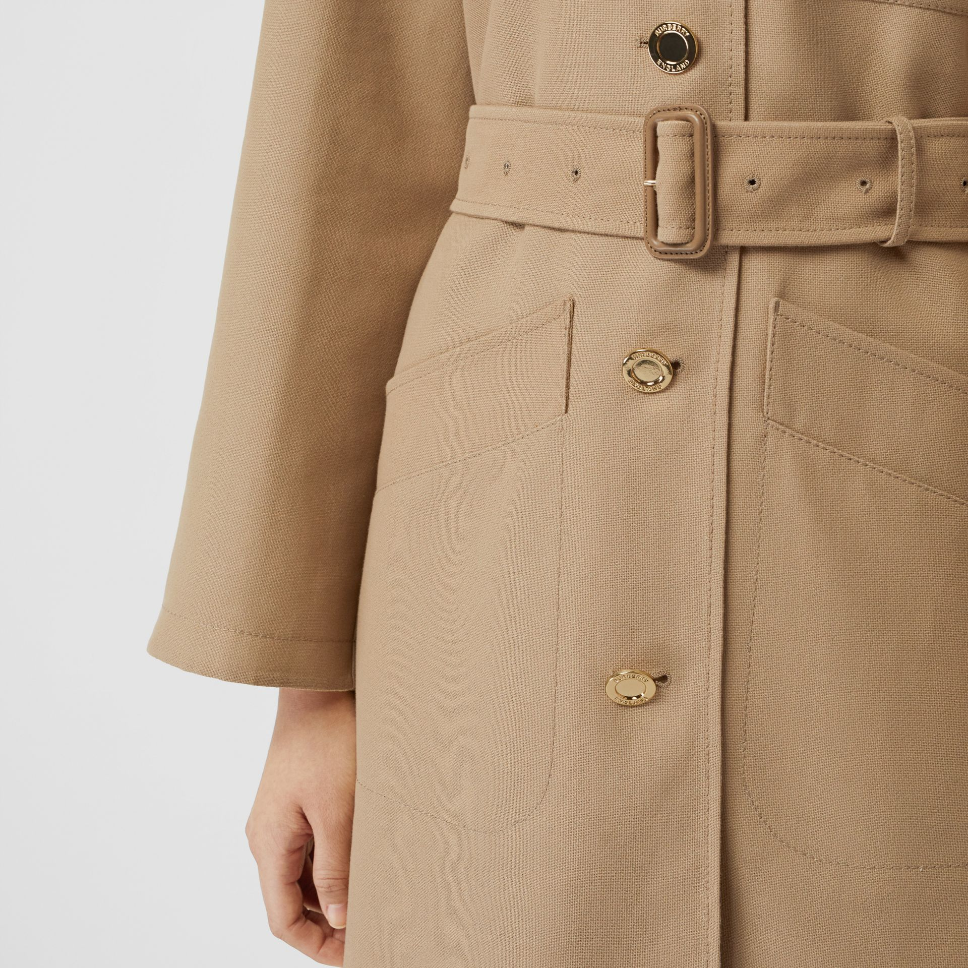 Double-faced Cotton Canvas Car Coat in Honey/white - Women | Burberry United Kingdom - gallery image 4