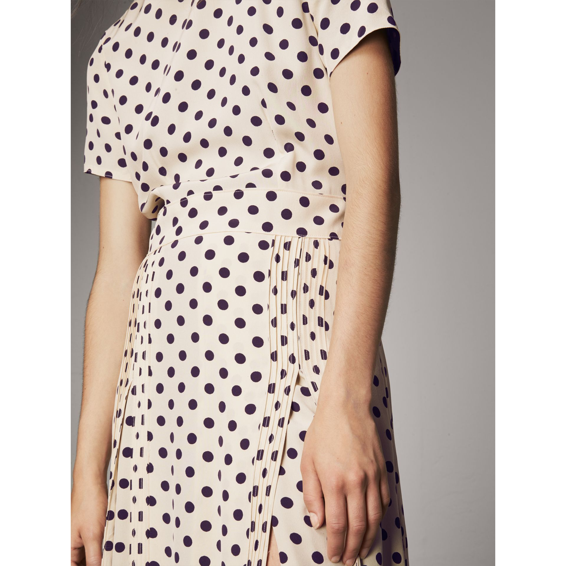 Polka-dot Silk Dress in Navy - Women | Burberry Singapore - gallery image 2
