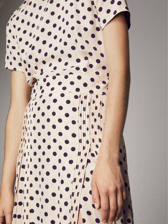 Polka-dot Silk Dress in Navy - Women | Burberry - cell image 1