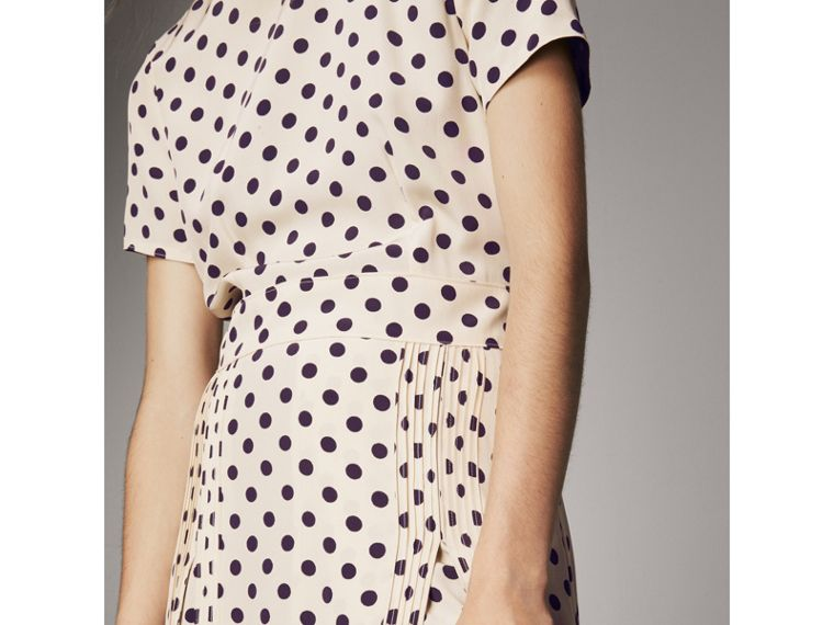 Polka-dot Silk Dress in Navy - Women | Burberry Singapore - cell image 1