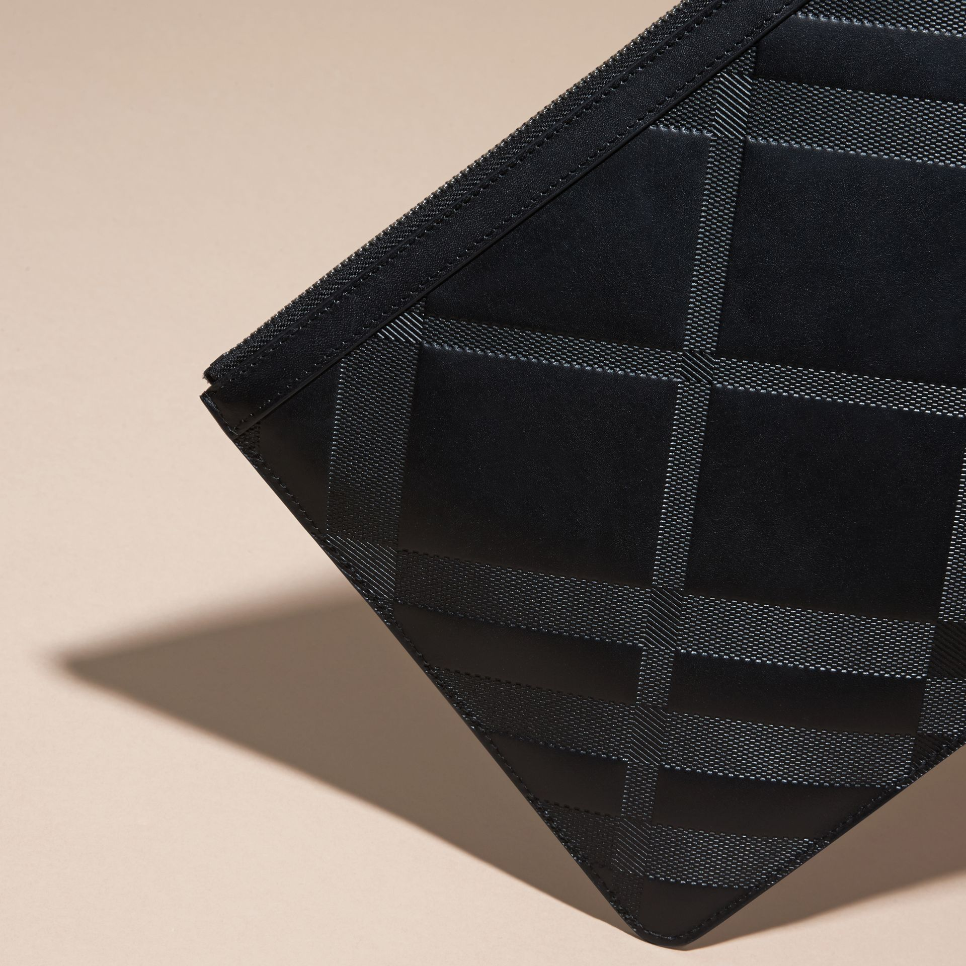 Black Check-embossed Leather Pouch Black - gallery image 4