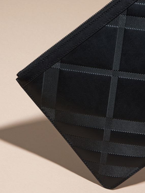 Black Check-embossed Leather Pouch Black - cell image 3