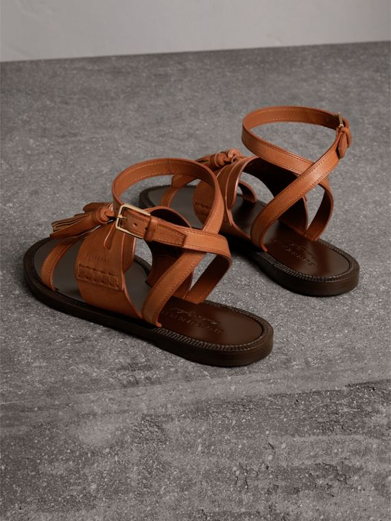Tasselled Leather Sandals in Amber - Women | Burberry - cell image 3