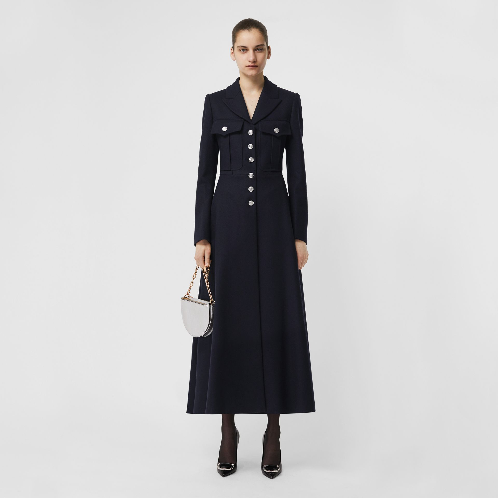 Melton Wool Tailored Coat in Navy - Women | Burberry United Kingdom - gallery image 0