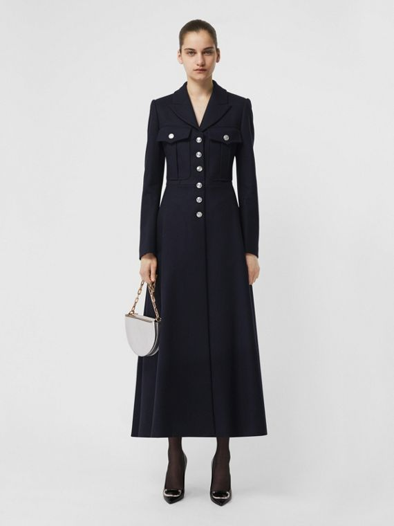 Melton Wool Tailored Coat in Navy