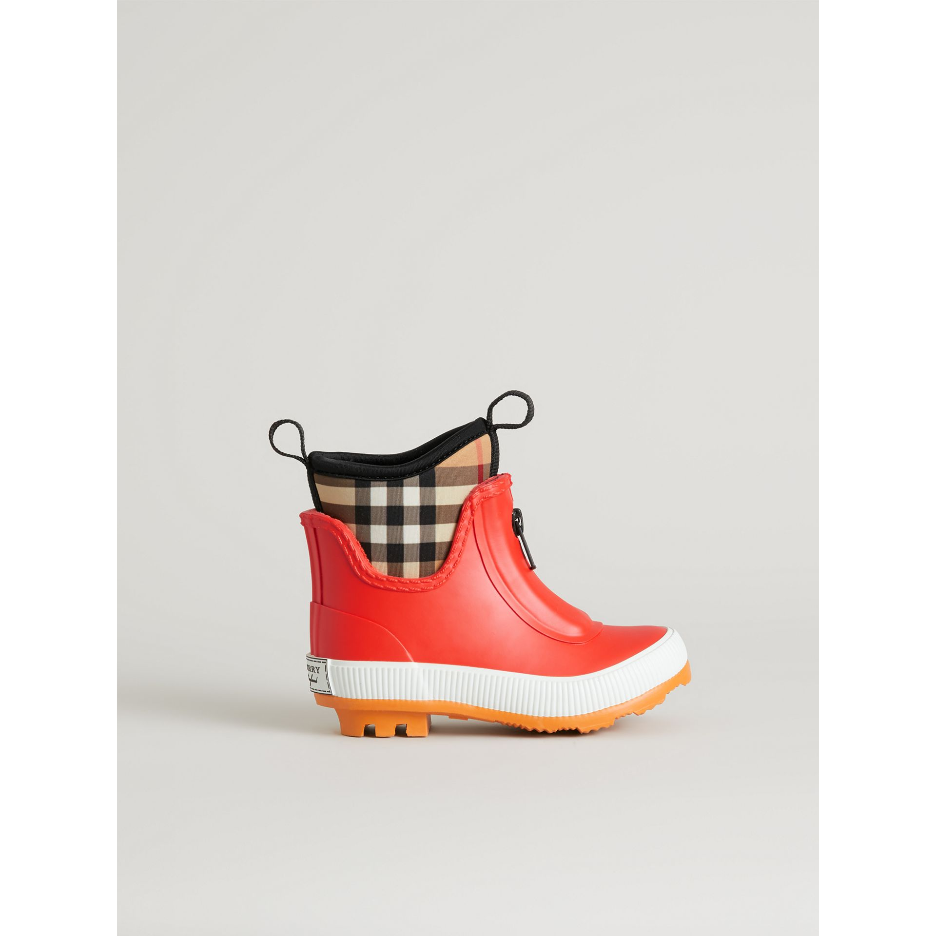 Vintage Check Neoprene and Rubber Rain Boots in Bright Red | Burberry - gallery image 3