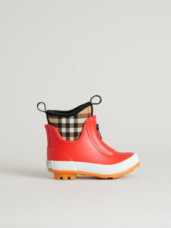 Vintage Check Neoprene and Rubber Rain Boots in Bright Red | Burberry - cell image 3