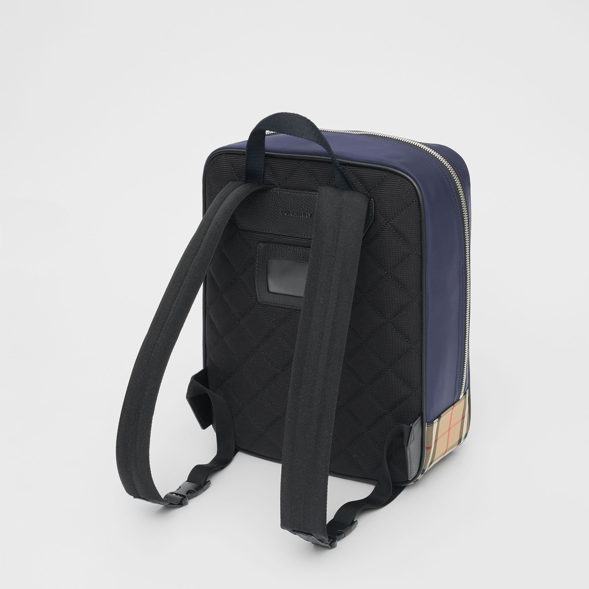 Colour Block Pocket Detail Vintage Check Backpack in Cobalt Blue - Children | Burberry - gallery image 2