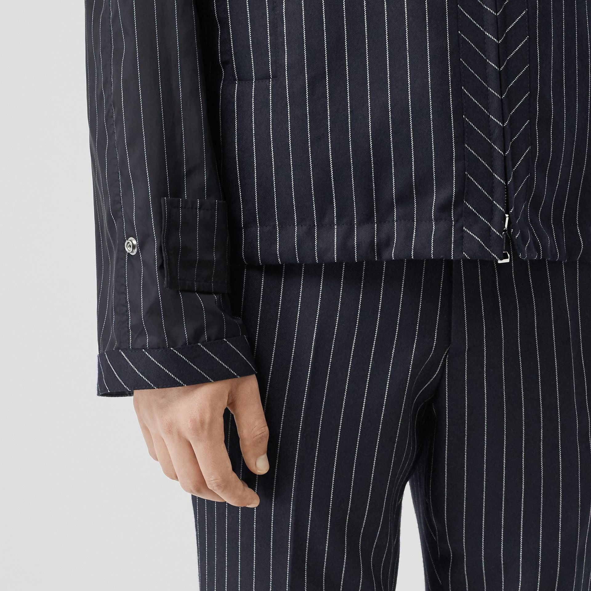 Pinstriped Wool Hooded Jacket in Dark Navy/white | Burberry Australia - gallery image 4
