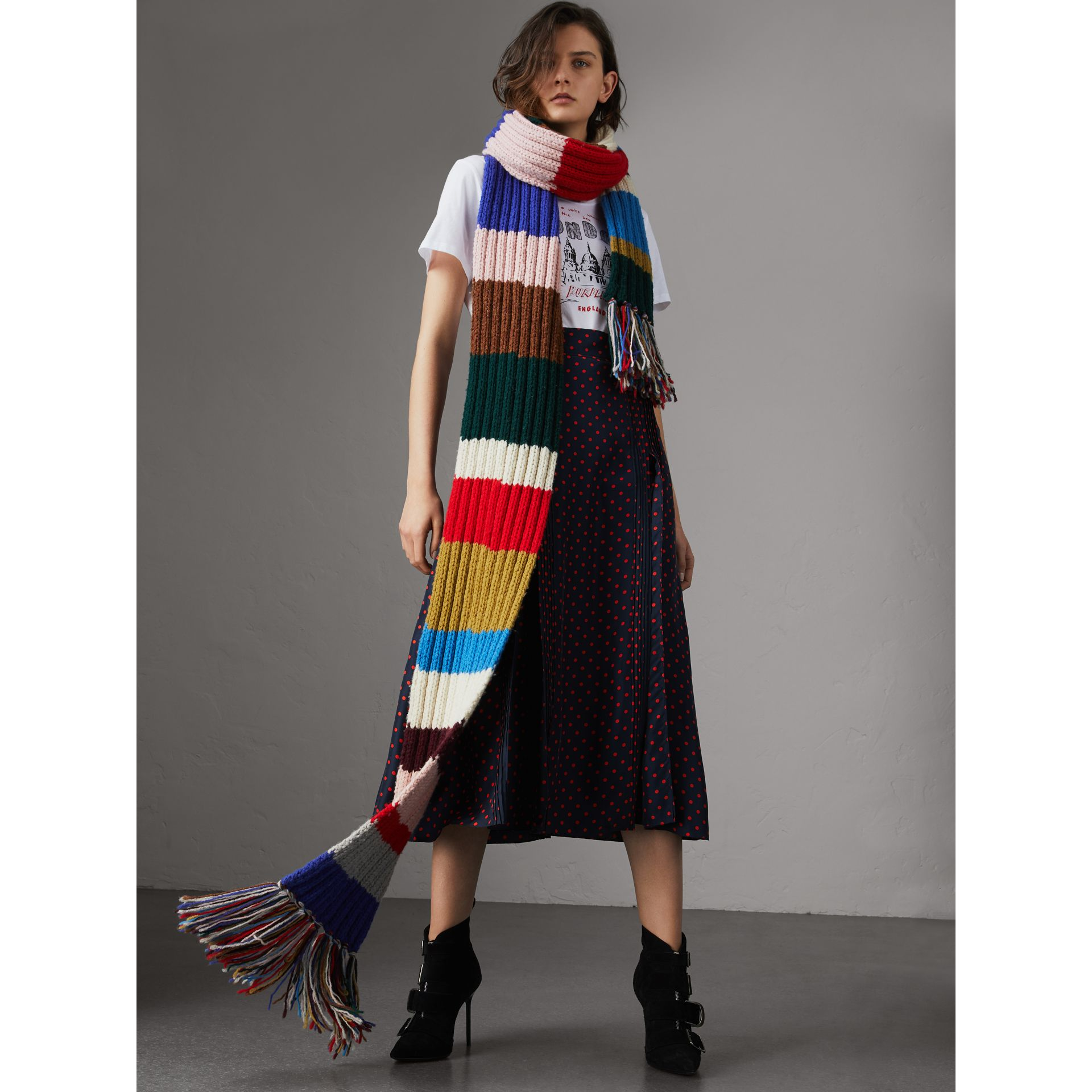 Long Striped Rib Knit Wool Scarf in Multicolour | Burberry United Kingdom - gallery image 2