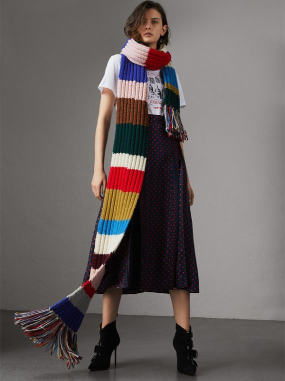 Long Striped Rib Knit Wool Scarf in Multicolour | Burberry - cell image 2