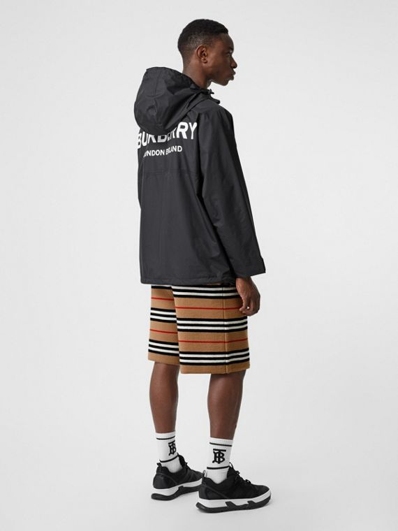 Logo Print Lightweight Cagoule in Black