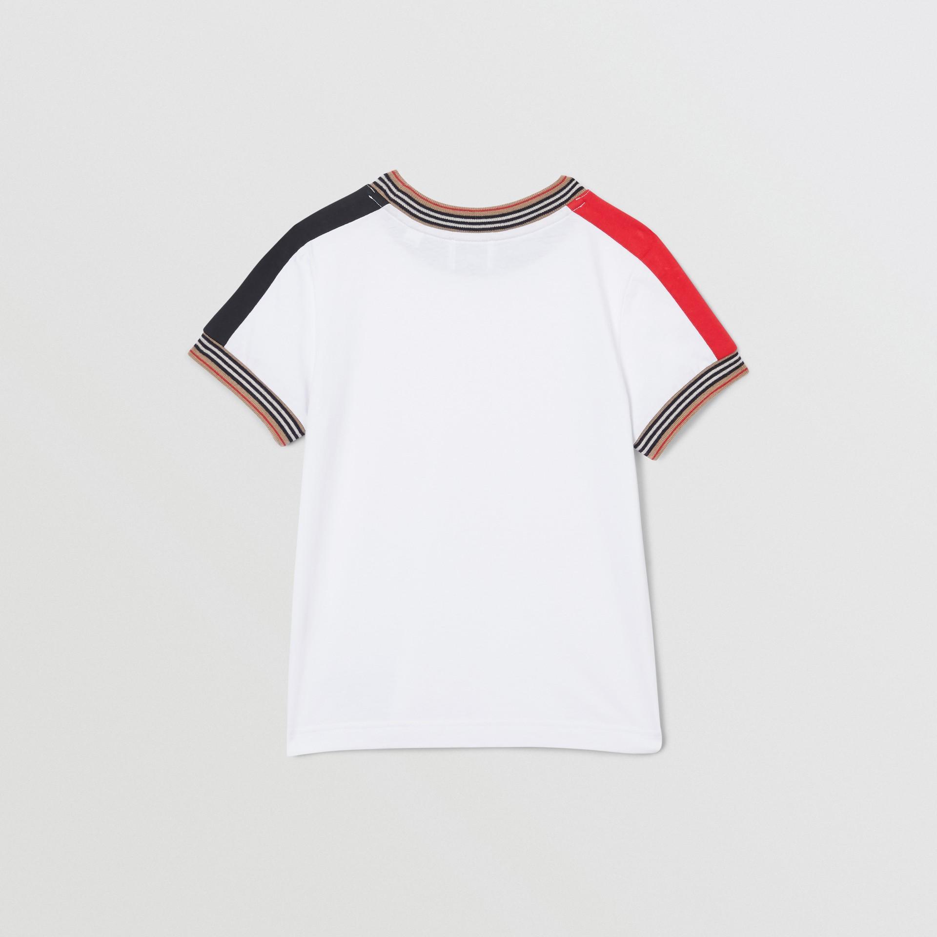 Icon Stripe Trim Cotton T-shirt in White | Burberry Singapore - gallery image 3