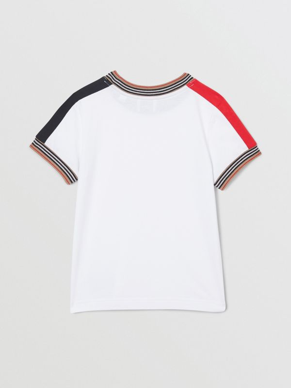Icon Stripe Trim Cotton T-shirt in White | Burberry - cell image 3