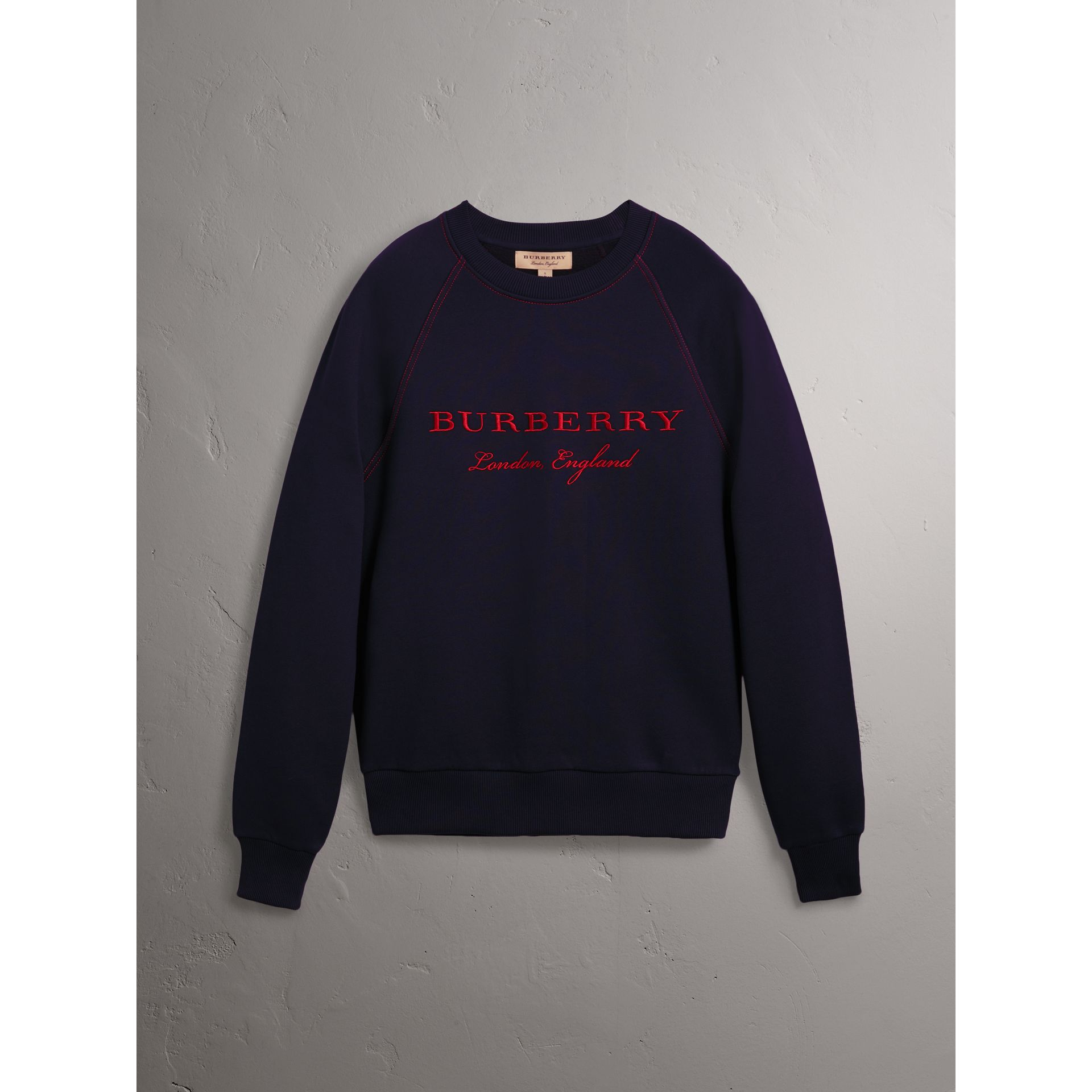 Embroidered Jersey Sweatshirt in Navy - Men | Burberry United Kingdom - gallery image 3