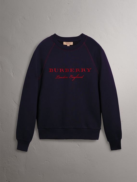 Embroidered Jersey Sweatshirt in Navy - Men | Burberry United Kingdom - cell image 3