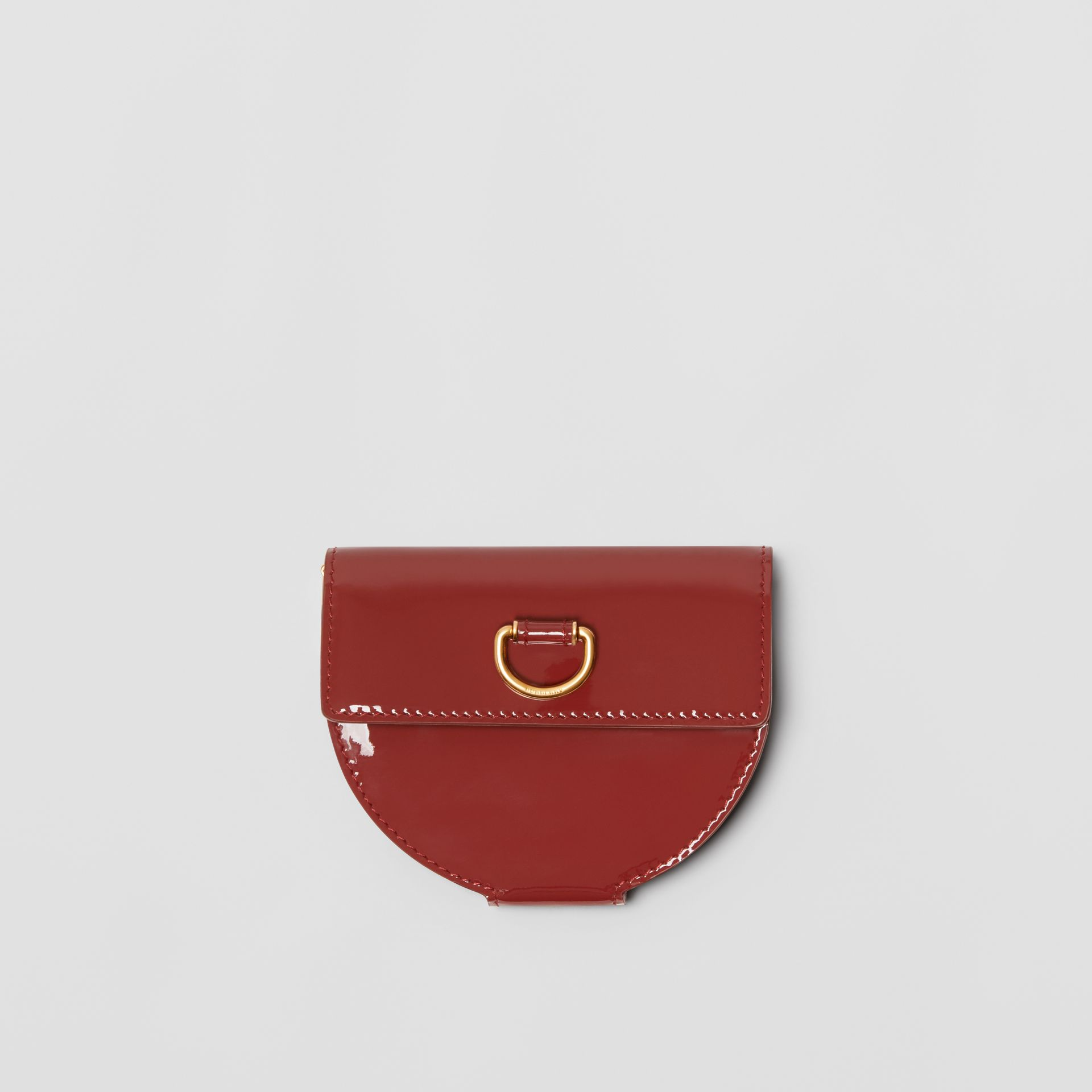 D-ring Detail Patent Leather Coin Case in Crimson - Women | Burberry United States - gallery image 0