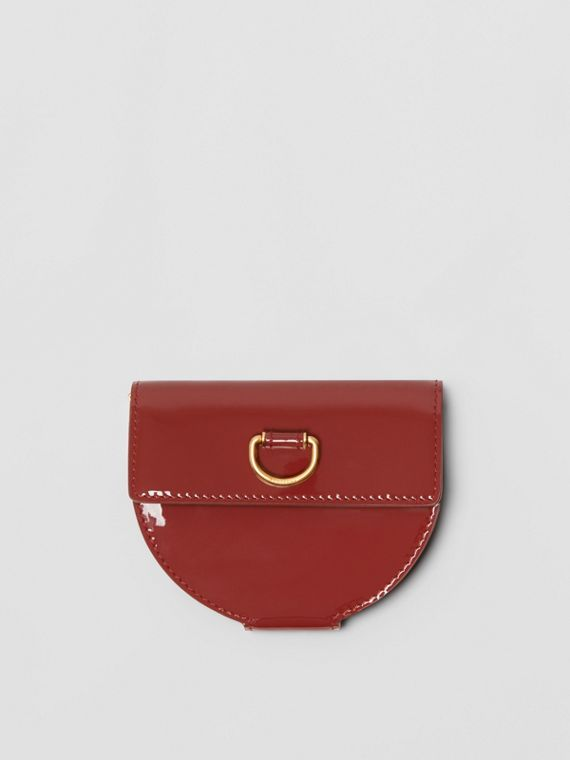 D-ring Detail Patent Leather Coin Case in Crimson