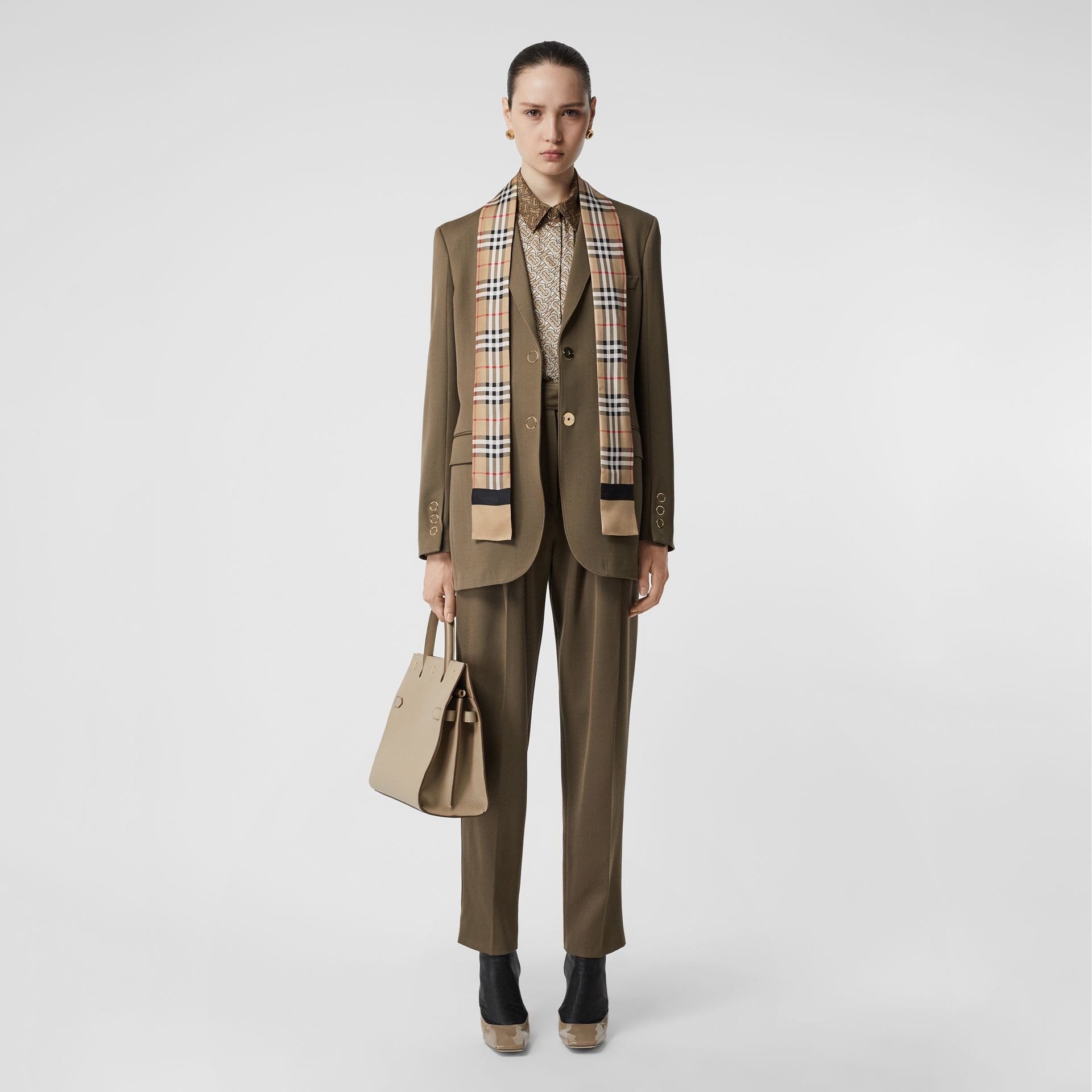 Vintage Check and Logo Print Silk Skinny Scarf in Archive Beige - Women | Burberry Hong Kong - gallery image 4