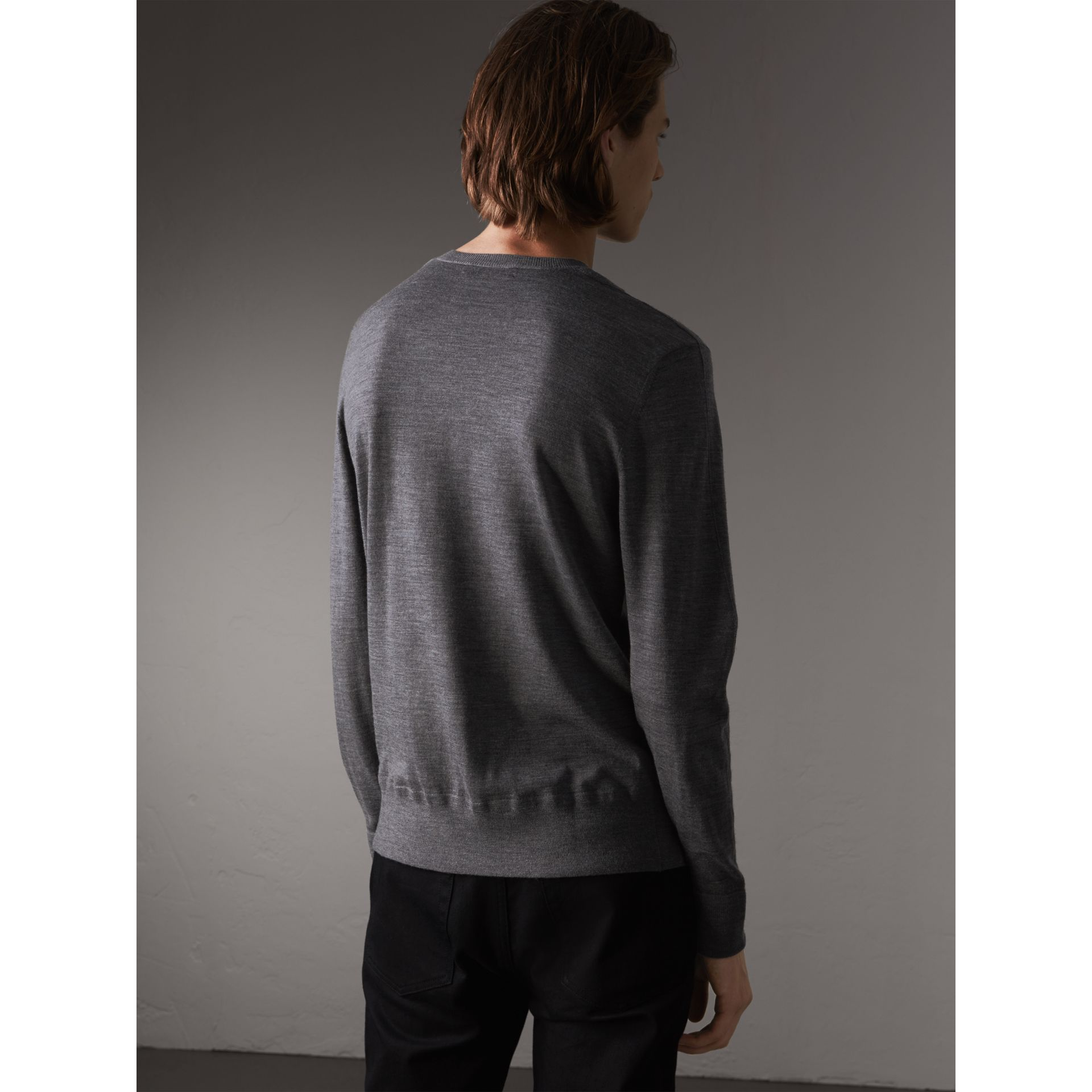 Merino Wool V-neck Sweater in Mid Grey Melange - Men | Burberry - gallery image 3