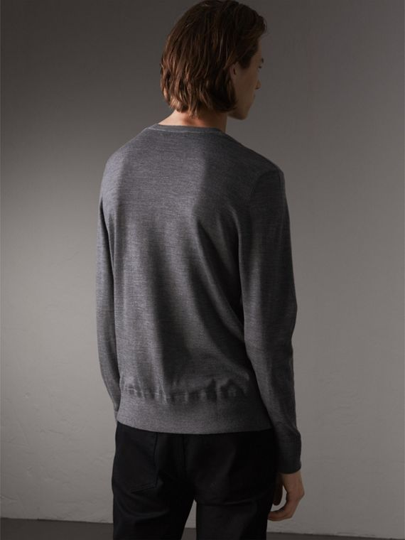 Merino Wool V-neck Sweater in Mid Grey Melange - Men | Burberry - cell image 2