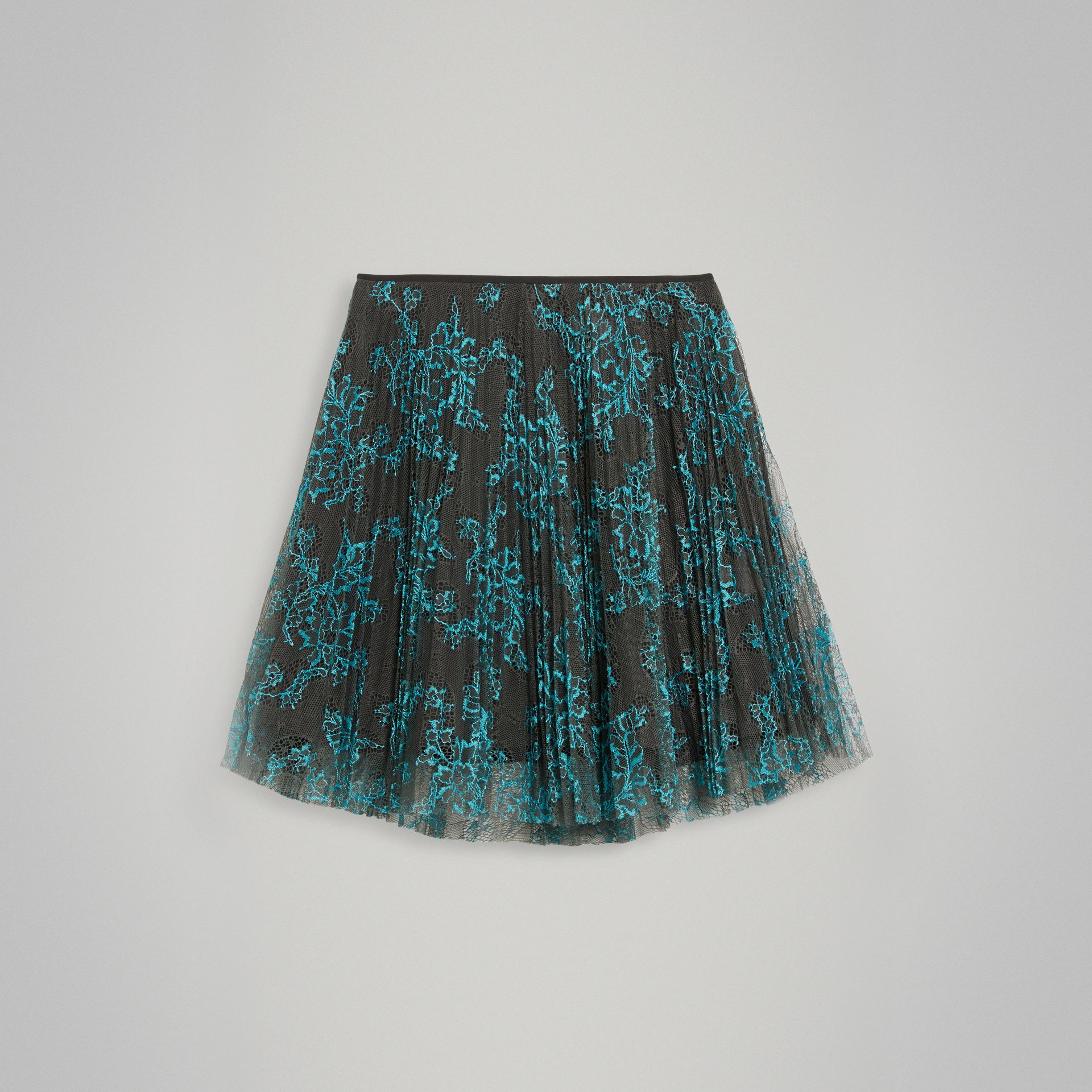 Pleated Lace Skirt in Bright Blue/taupe - Girl | Burberry Australia - gallery image 0
