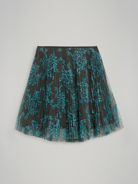 Pleated Lace Skirt in Bright Blue/taupe