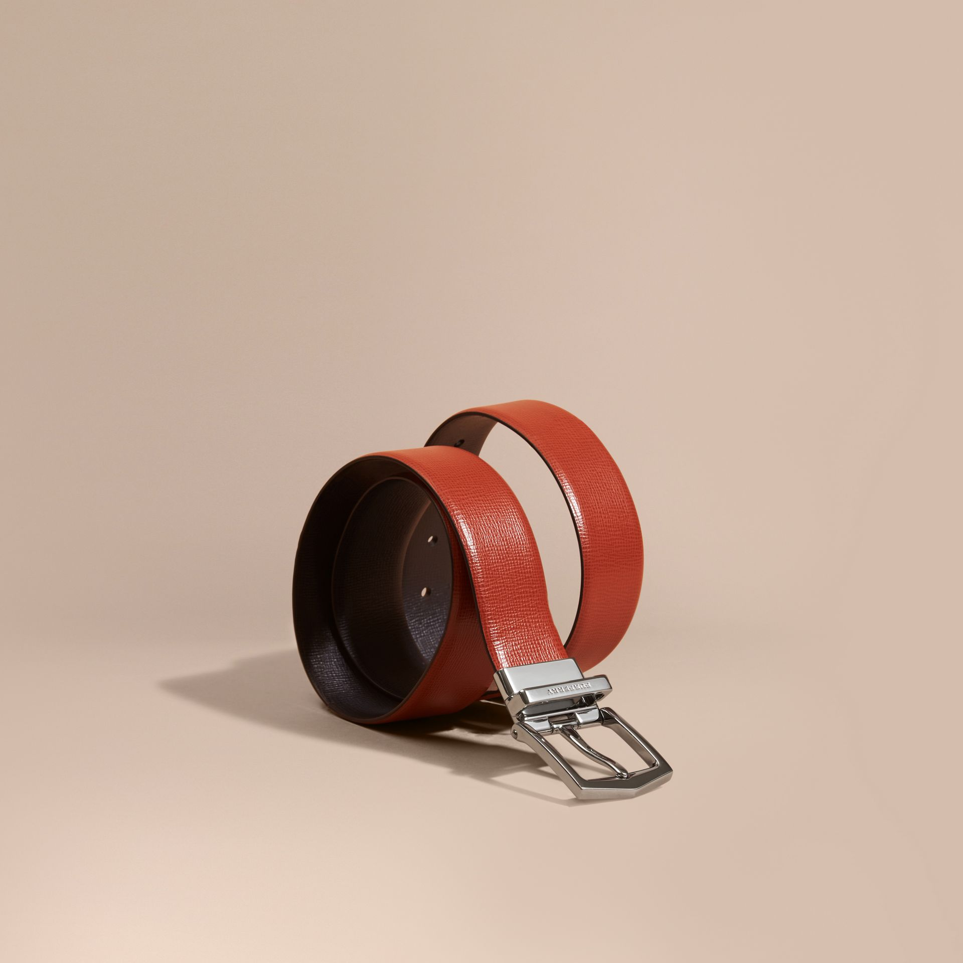 Reversible London Leather Belt Burnt Sienna/black - gallery image 1