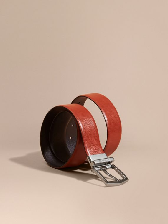 Reversible London Leather Belt Burnt Sienna/black