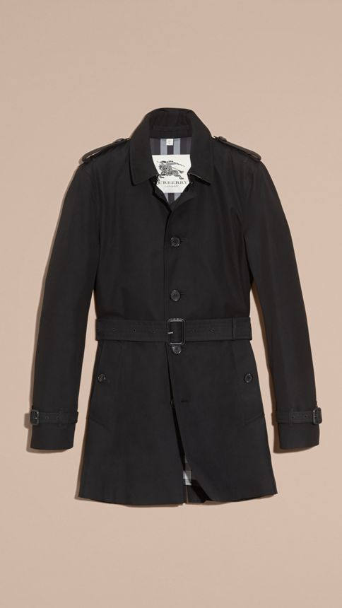 Black Cotton Gabardine Trench Coat Black - Image 4