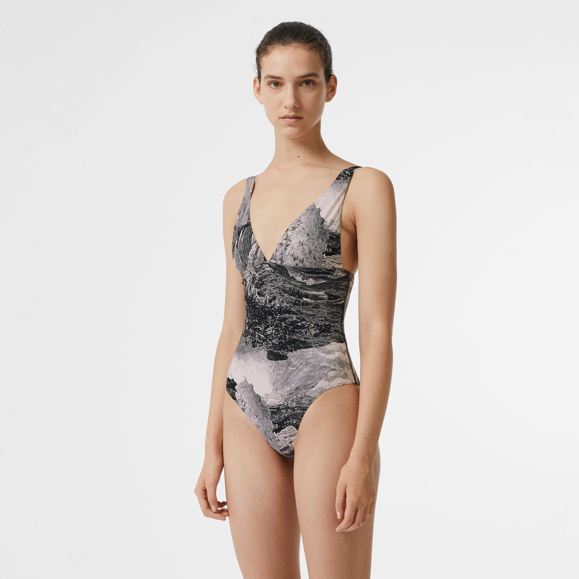 Dreamscape Print Swimsuit in Black - Women | Burberry - gallery image 0