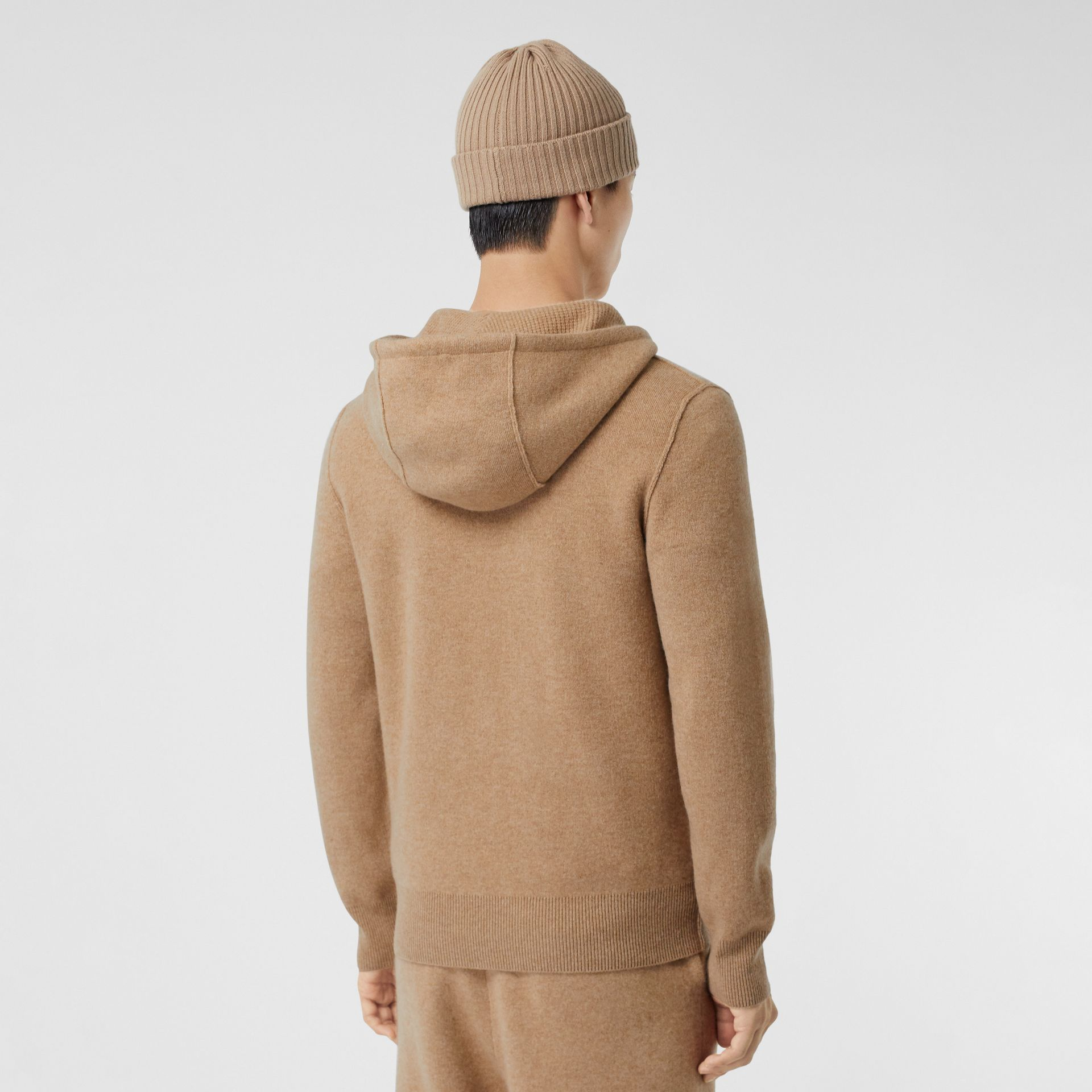 Monogram Motif Cashmere Blend Hooded Top in Pale Coffee - Men | Burberry - gallery image 2