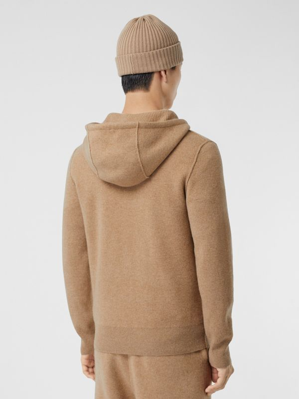 Monogram Motif Cashmere Blend Hooded Top in Pale Coffee - Men | Burberry - cell image 2