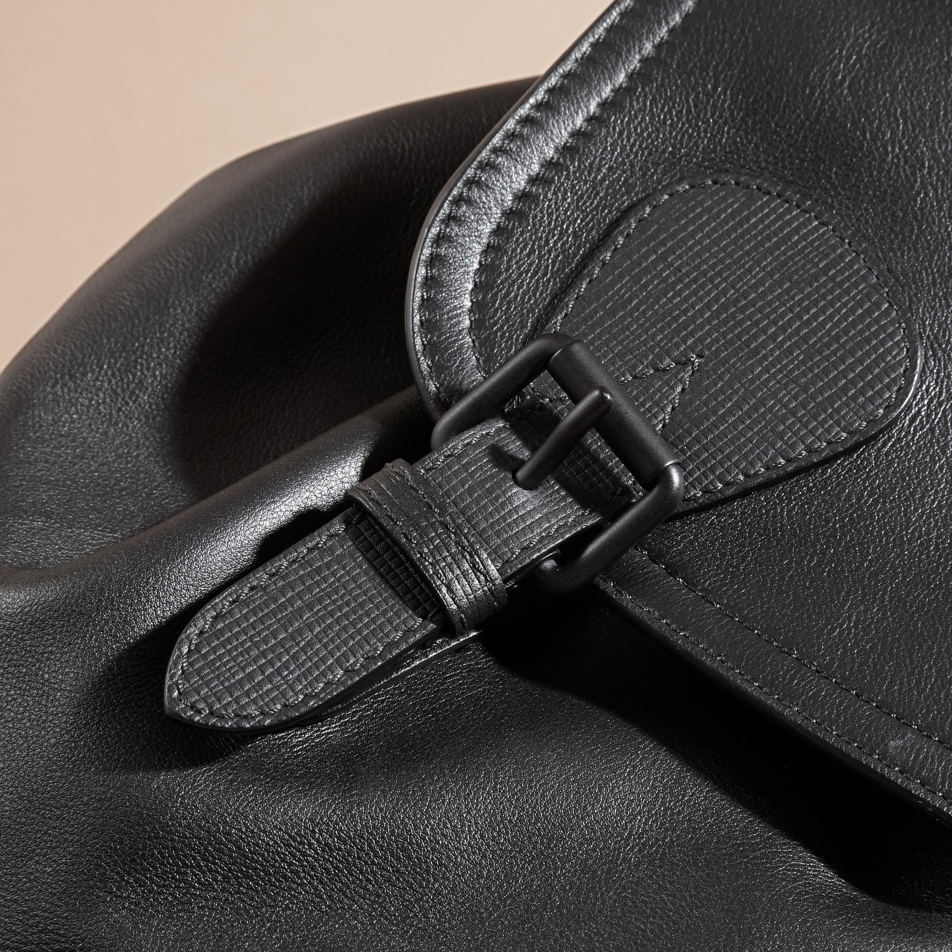 Black The Large Rucksack in Water-repellent Leather Black - gallery image 6