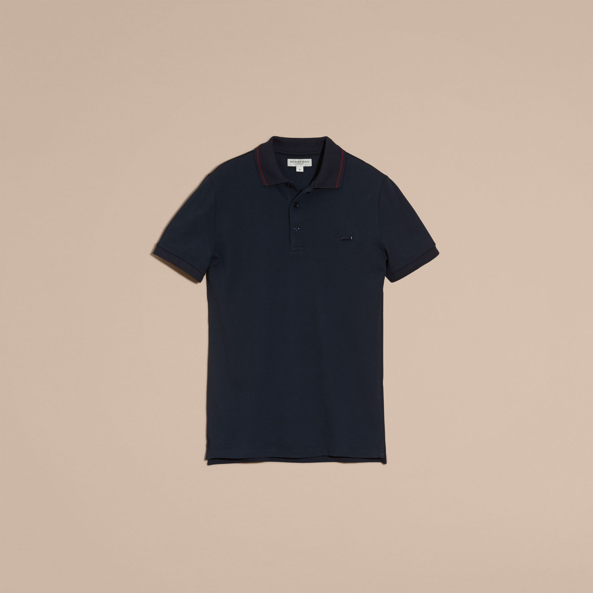 Navy/mahogany red Contrast Trim Cotton Piqué Polo Shirt Navy/mahogany Red - gallery image 4