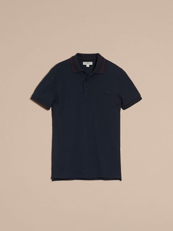 Navy/mahogany red Contrast Trim Cotton Piqué Polo Shirt Navy/mahogany Red - cell image 3