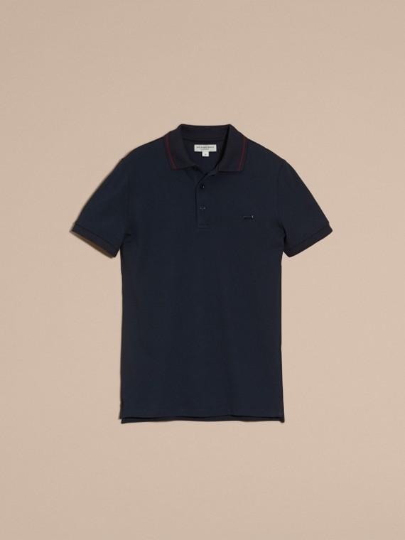 Azul marinho//mahogany red Camisa polo de algodão piquê com detalhes contrastantes Azul Marinho//mahogany Red - cell image 3