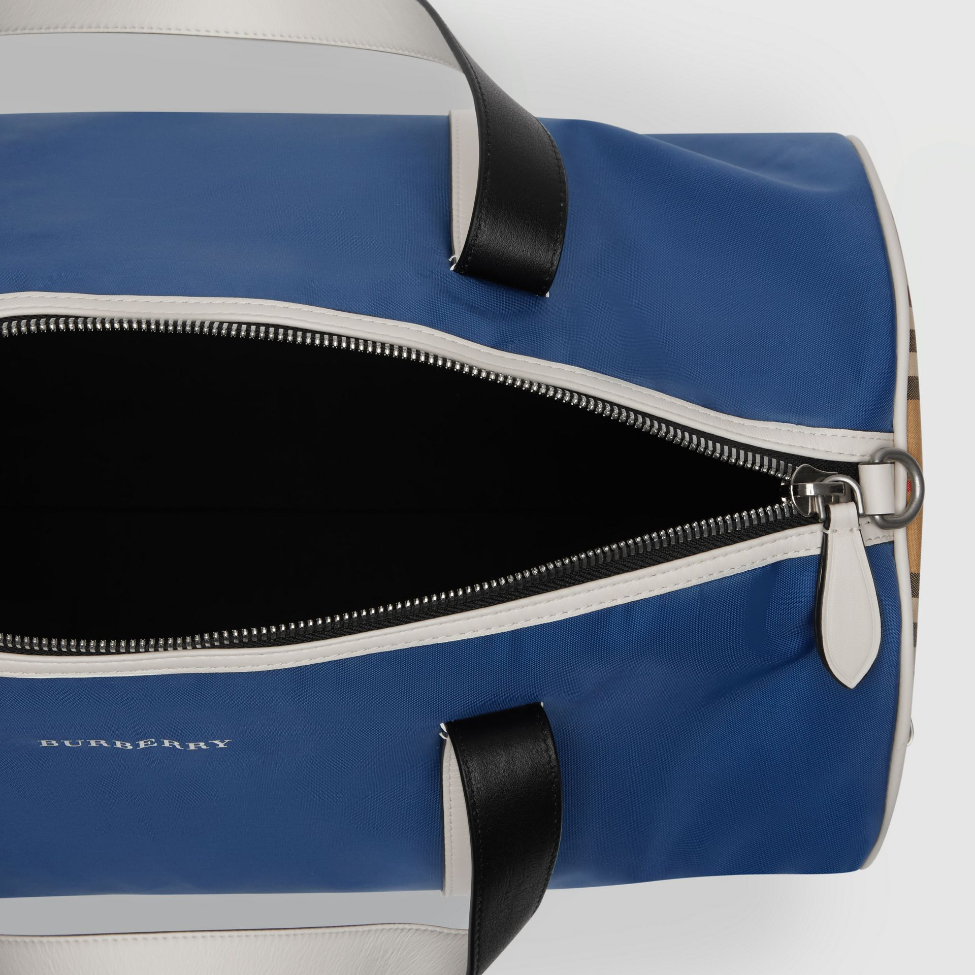 Medium Colour Block Vintage Check Barrel Bag in Dark Canvas Blue - Men | Burberry Singapore - gallery image 5